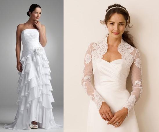 Свадебные платья с длинным расклешенным рукавом, увы, сейчас не в моде.